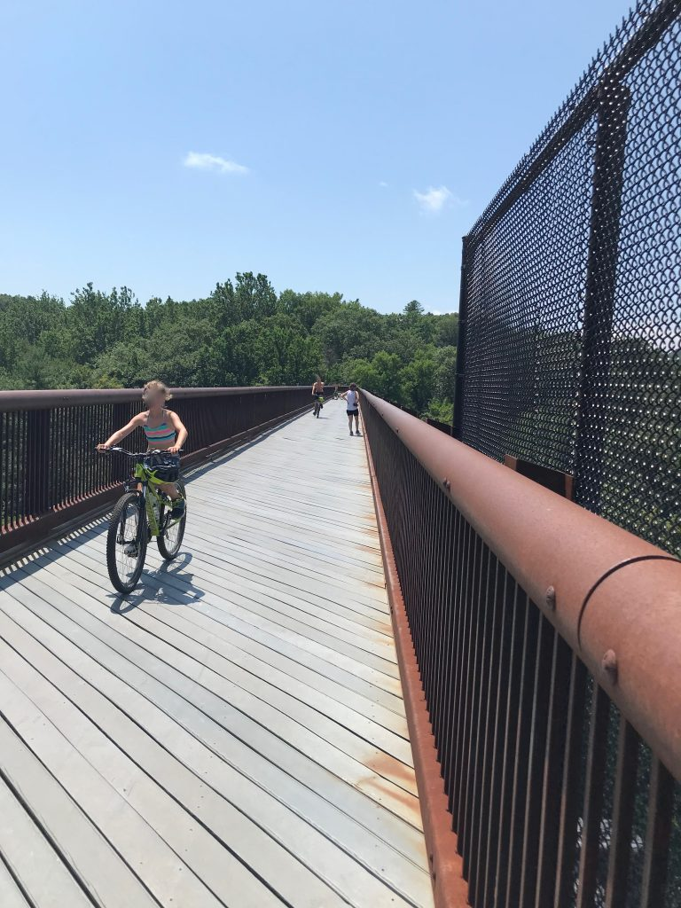 physically distancing on the trestle